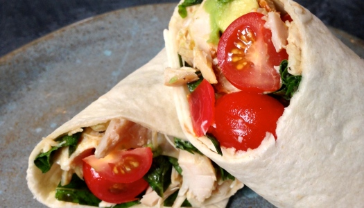 Rotisserie Chicken Wrap with Avocado, Tomatoes and Basil