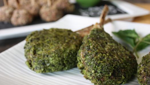 Edamame Mint Crusted Lamb Chops
