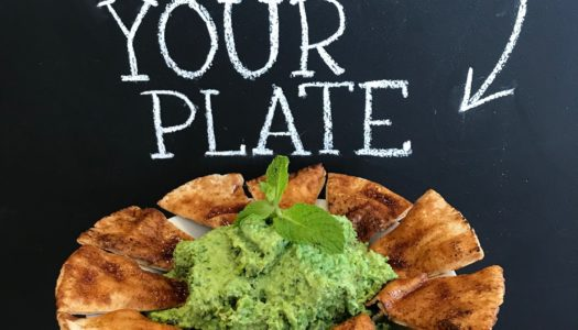 Sweet Pea & Mint Hummus  with Spicy Pita Chips